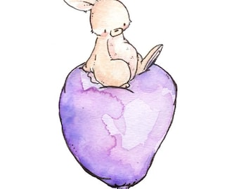 Children Art Print. Bunny and Balloon- PLUM. PRINT 8X10. Nursery Art Home Decor