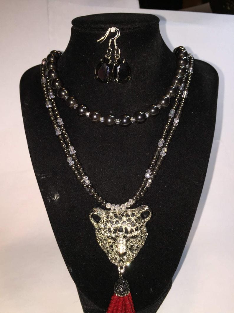 Dagwan Designs Cheetah hematite necklace and earring set