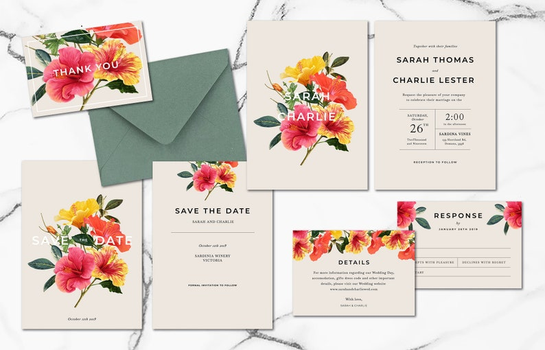 Tropical Hibiscus Wedding Invitation Bundle Suite Printable Invitations Template Templett Simple Templates Elegant DIY