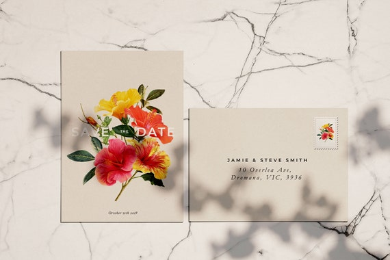 Tropical Hibiscus Save The Date Invitation Template Printable Wedding Invites Editable On Templett Our Modern Green Boho