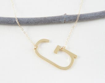 Initial g necklace etsy gold big letter initial alphabet g necklace simple trendy minimalist bridesmaid gift for woman necklace aloadofball Image collections