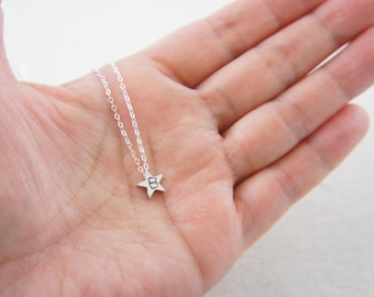 Personalized silver tiny star necklace, sterling silver chain - modern, casual, everyday, Valentine's day, anniversary, layered necklace