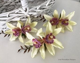 Hair Clip - Hair Flower - Set of 3 - Orchids