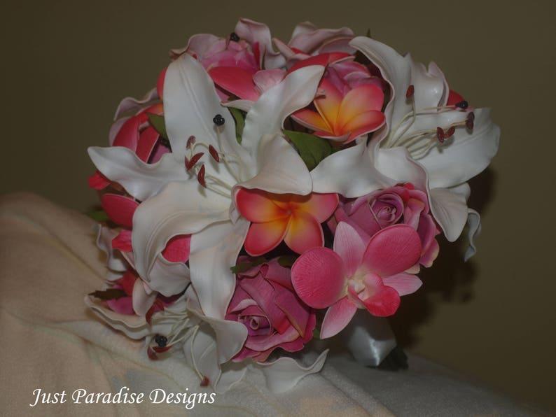 Bridal Bouquet Lily Roses Frangipani Orchid Tropical Wedding Bouquet Artificial Flowers