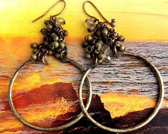 Vintage Grapevine Brass Hoop Earrings