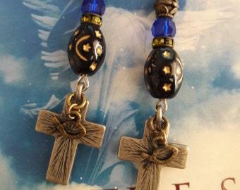 Metal Cross Crystal Christian Fish Earrings