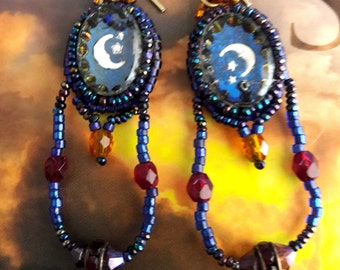 Vintage Bead Embroidery  Moon And Star Earrings