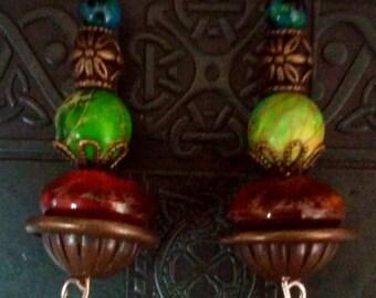Ethnic Green Jasper Ceramic And Blue Jasper Earrings