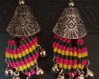 Peruvian Style Macrame And Silver Earrings