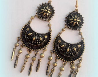 Ethnic Antique Brass With Stars Design Earrings