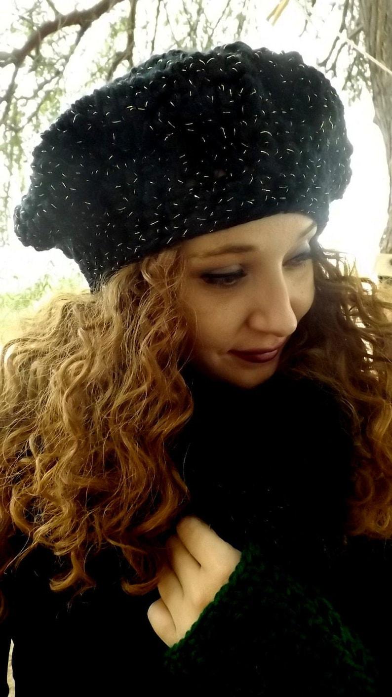 Winter Hats Large Beret Hat Extra Warm Hat Stevie Nicks Renaissance Style Beret Hat Winter Beret Stevie Nicks Hat Large Black Beret