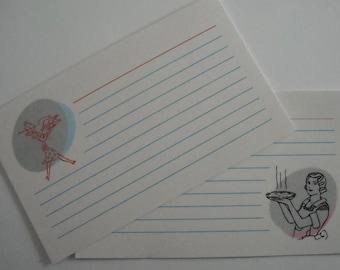 Recipe Cards -- Retro design, 3x5, Printable instant download