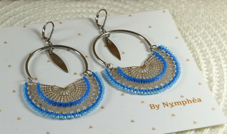 blue woven curls Wide silver earrings miyuki pearl buckles Japanese pearl jewelry ByNymph\u00e9a large buckles