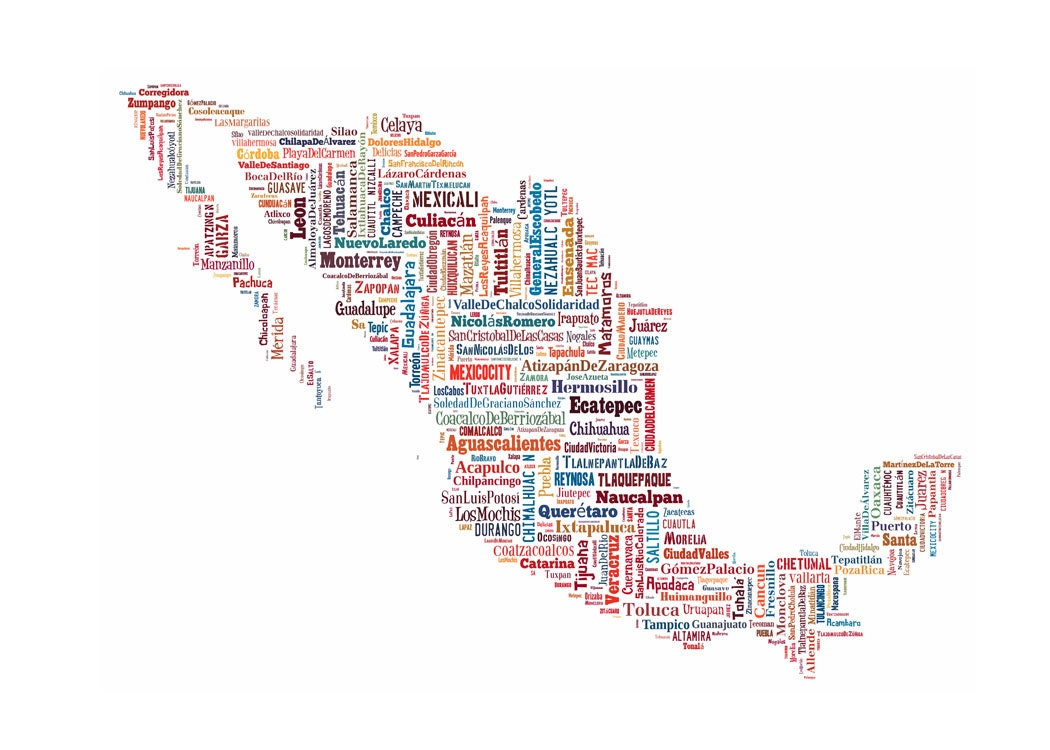 Mexico Map Color Typography Map Poster Print Text Map Etsy