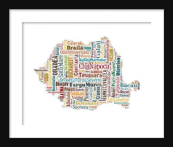 Romania Map Color Typography Poster Print Text