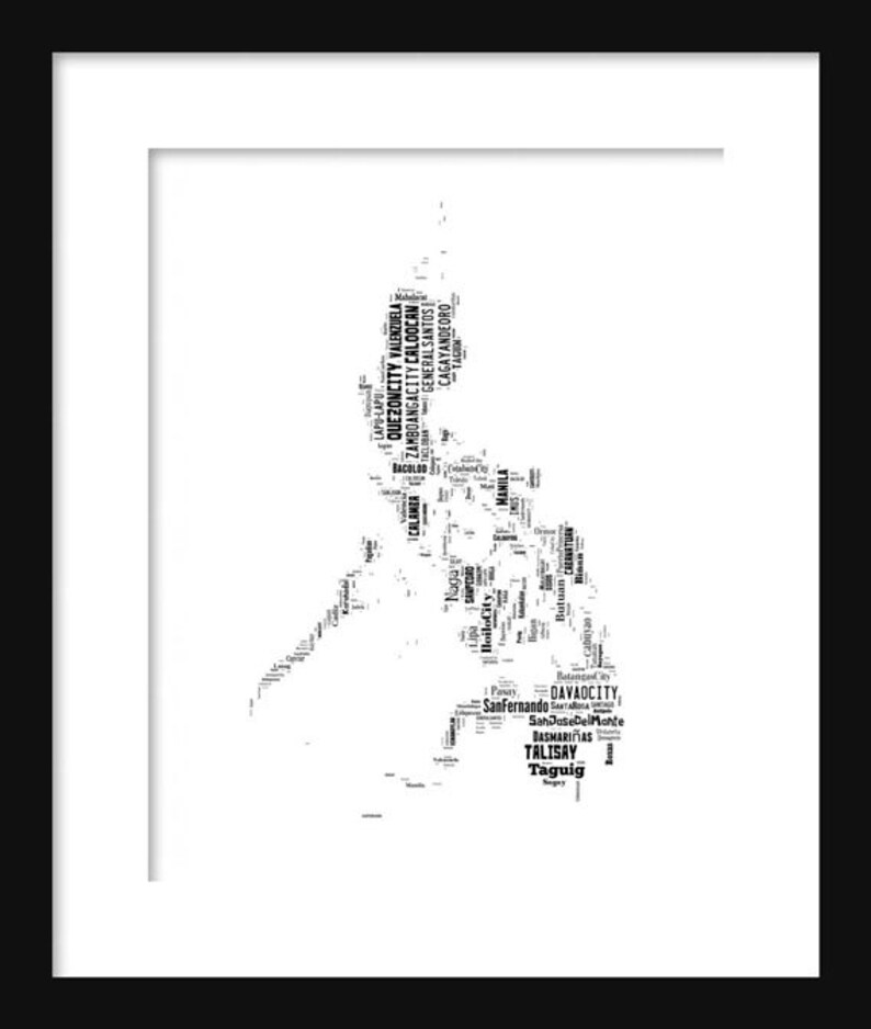 ba2ad151aa Philippines Map Typography Map Poster Print Text Map