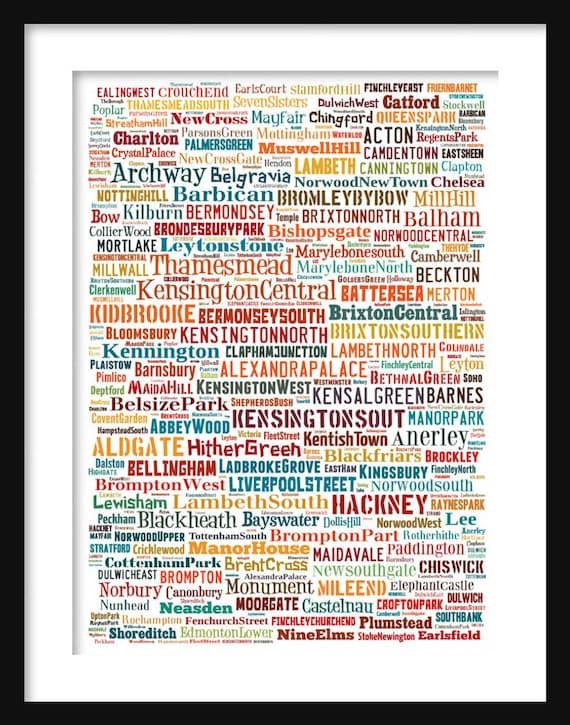Neighborhoods Of London Map.London Map Typography Neighborhoods Of London Poster Print Etsy