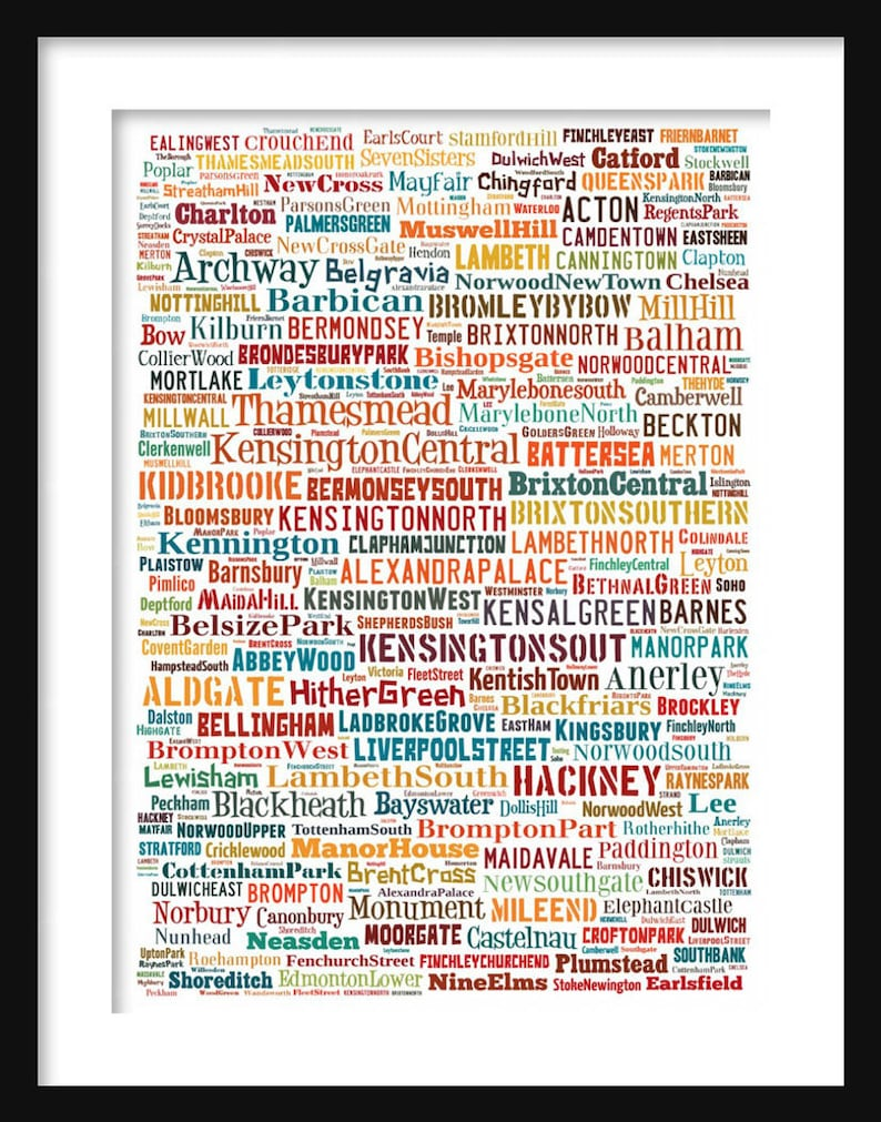 Map London Neighborhoods.London Map Typography Neighborhoods Of London Poster Print