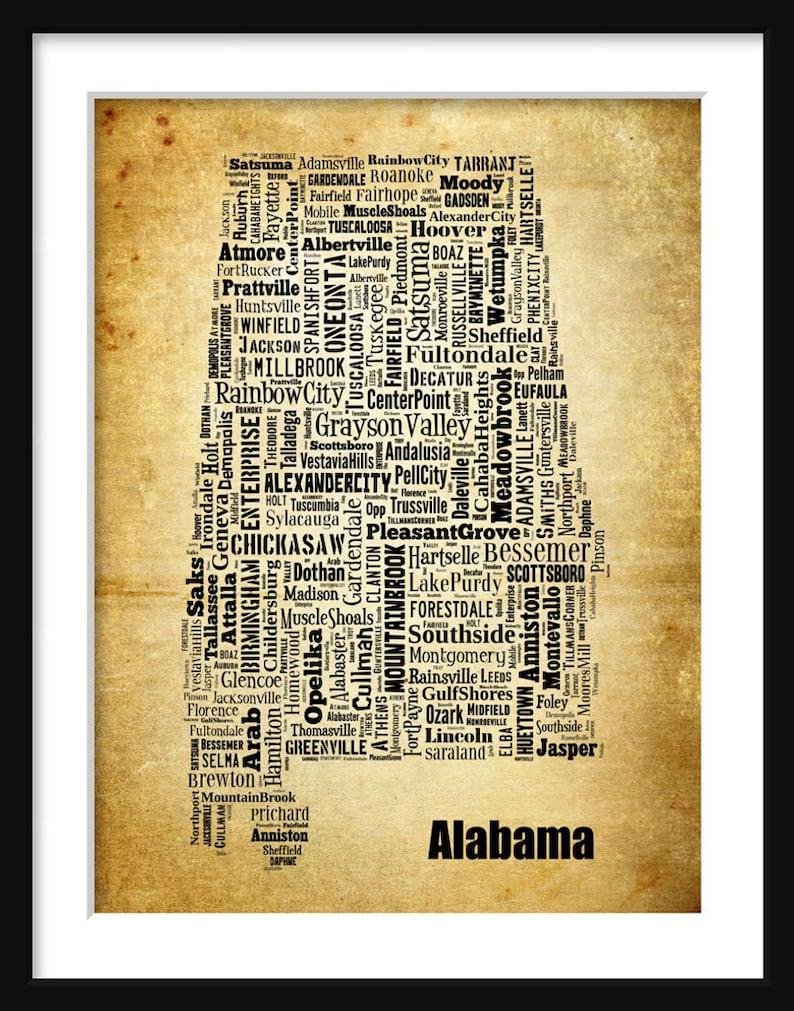 Alabama State Map Alabama City Cities Typography Grunge Map | Etsy