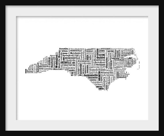 North Carolina State Map City Cities Typography Map Poster | Etsy