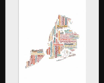 Boroughs of New York City Typography New York Typography Color Map Tyographical Poster Print