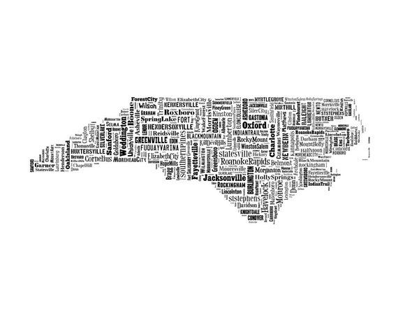 North Carolina State Map City Cities Typography Map Poster Print