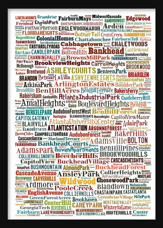 Atlanta Map Typography Neighborhoods Of Atlanta Poster Print Etsy