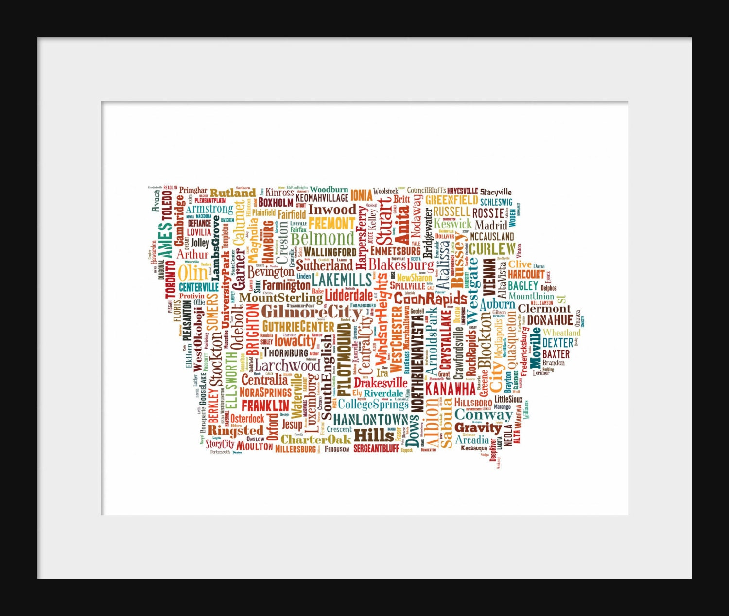 Templeton Iowa Map.Iowa Typography Map Poster Color Mapprint Etsy