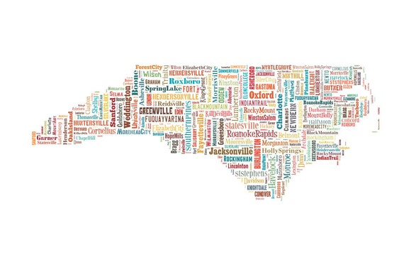 North Carolina State Map City CitiesColor Typography Map | Etsy