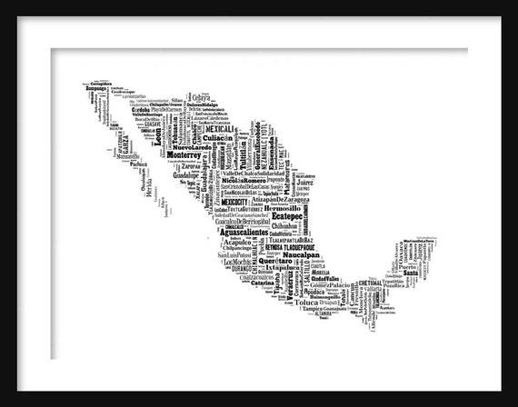 Mexiko Karte Umriss.Mexiko Karte Typografie Karte Poster Druck Text Karte