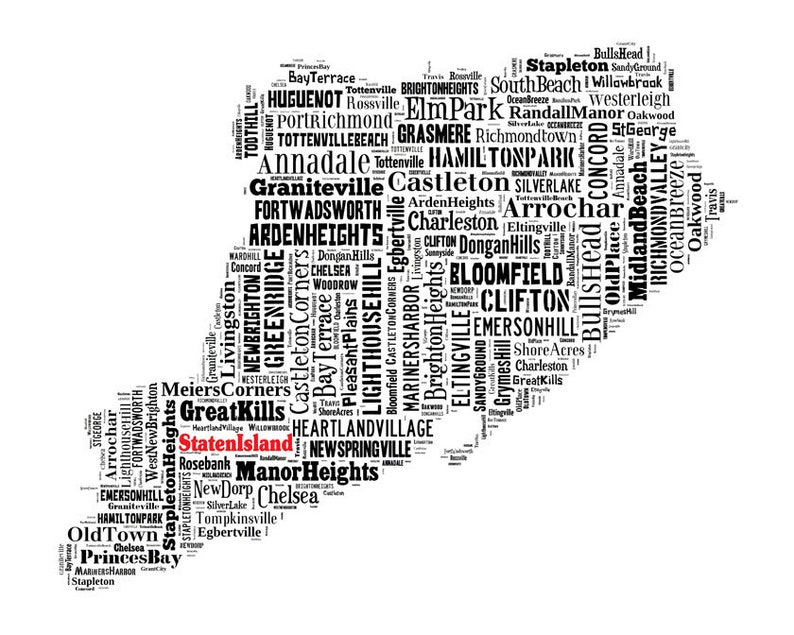 Staten Island New York Map Typography Map Poster Print on rossville maryland, rossville illinois, rossville georgia,