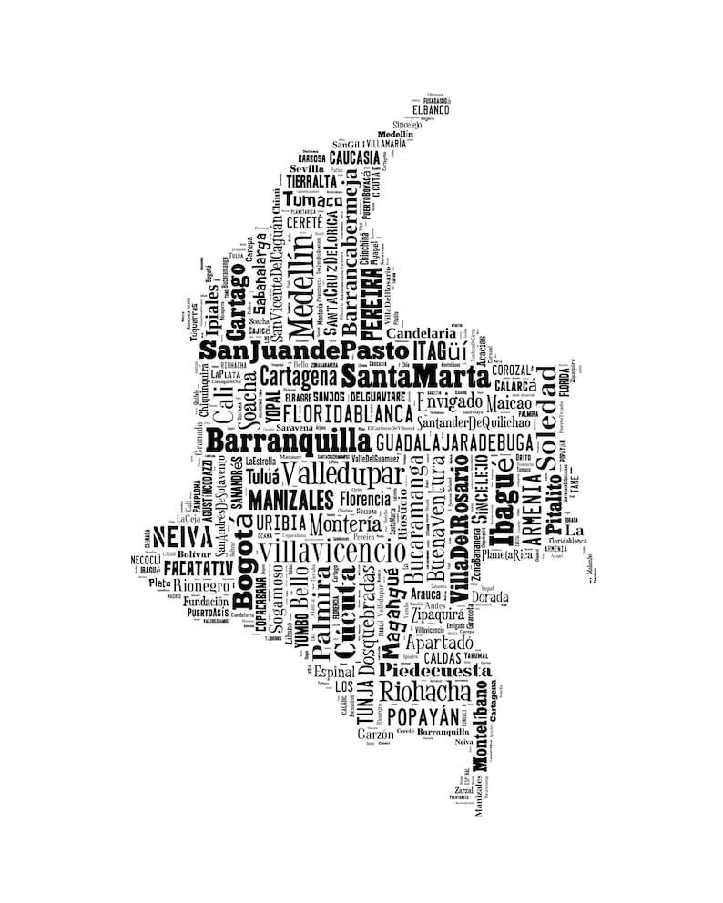 Colombia South America Map Typography Poster Print Etsy