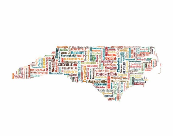 North Carolina State Map City Cities Color 2 Typography Map Poster Print
