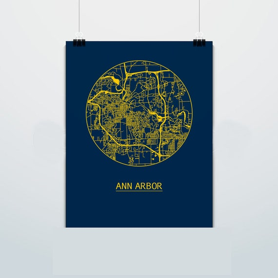 Ann Arbor Michigan Map University Of Michigan Street Map Etsy