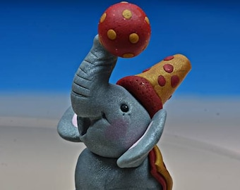 Circus Elephant, Polymer Clay, Cake Topper, Cupcake Topper, Figurine, Polymer Clay Figurine, Polymer Clay Cake Topper, Party ELephant