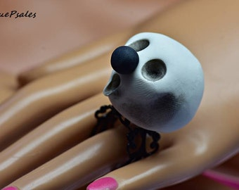 Ghost Ring, Skull Ring, Halloween Ring, Polymer Clay Ring, Black and White Ring, Hand Sculpted, Adjustable Ring, Halloween Jewelry