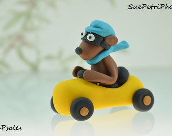 Polymer Clay Dog in Race Car, Figurine, Miniatures, Can be a cake topper, Funny, Adorable, Yellow, Blue, Polymer Clay, Trinket, Race