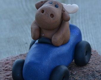 Moose on the loose, cake topper, figurine, hand sculpted, polymer clay, moose cake topper, car driving moose, funnny cake topper