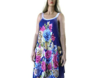 8844c6e93b60 Blue floral beach dress with roses print -Scarf dress -voile summer dress-  Long summer dress pareo Cruise vacation fashion-Tall length