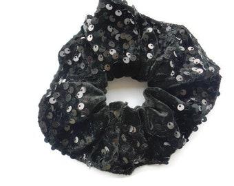 Black Velvet fancy Hair Scrunchies with sequins 292fe03674a