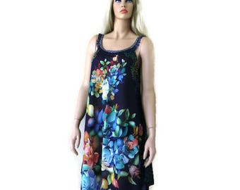 1570afb59f77 SALE-Navy blue floral long summer dress -Santorini Dress-Scarf dress-Long summer  dress pareo Cruise vacation fashion-Tall length-Hi-Low hem.