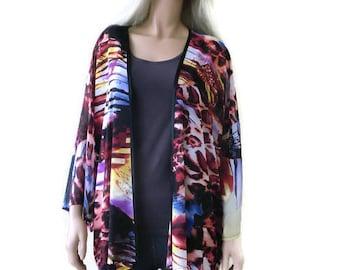 Wild sunset chiffon kimono with wide sleeves- Boho Kimono- Designer print, Plus size kimono -Chiffon collection-only one is available