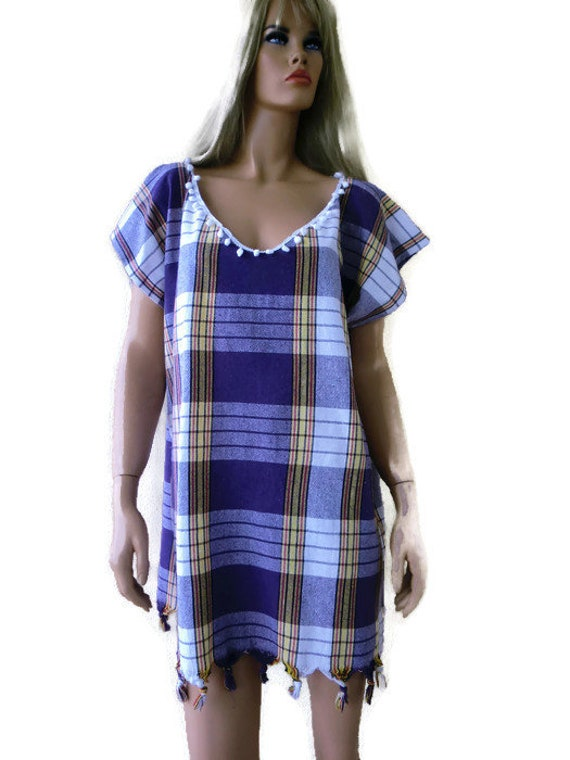 7068621abbf9 Black-White peshtemal summer dress w.fringes and pompoms