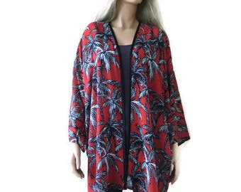 Palm Beach, Red chiffon kimono with wide sleeves- Boho Kimono- Red black and white - Plus size kimono Chiffon collection