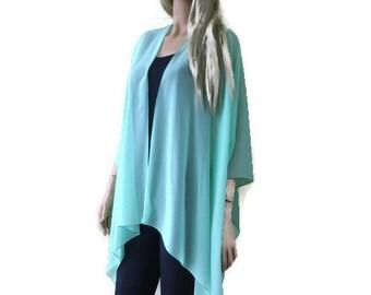 Soft Mint Green  Boho Kimono/ Kimono cardigan--Lagenlook chiffon kimono- chiffon jacket-Ruana style