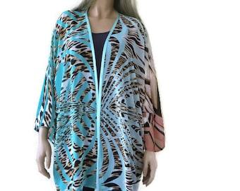 Beach safari chiffon kimono wide sleeves- Boho Kimono- Blue animal print, touch of sunset - Plus size kimono Chiffon collection