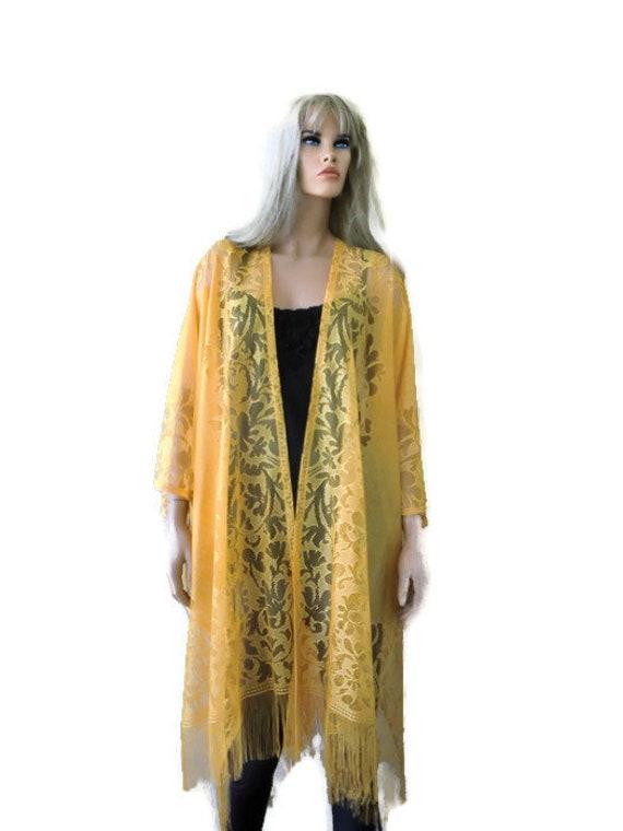 Jackets for Women Floral Chiffon Kimono Oversized with Fringe Shawls Wraps Coat