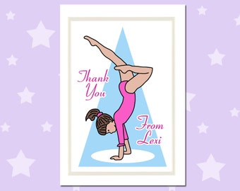 Gymnastics Thank You Notes (Pack of 10) - Personalized Handstand Design