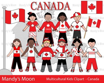 Multicultural Kids Clipart Set - Canada - Personal and Nonprofit Use - Instant Download