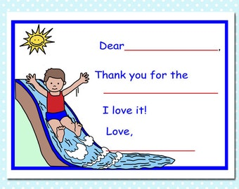 Water Slide Boy Fill in the Blank Thank You Notes (Pack of 10)